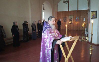 На подворье обители совершено богослужение с чтением Великого канона преподобного Андрея Критского