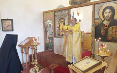 На подворье обители состоялось праздничное богослужение и поздравление священнослужителя монастыря